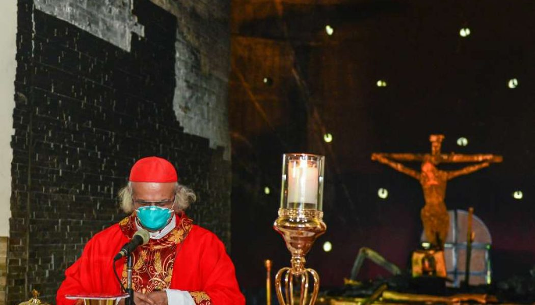 Nicaraguan cardinal says Mass at entrance of firebombed cathedral chapel…