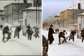 This colorized footage of a snowball fight filmed in 1886 is captivating…