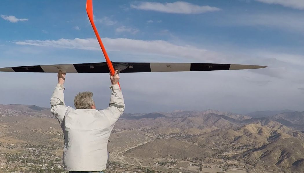 """Using an aerodynamic oddity called """"dynamic soaring,"""" an RC glider just hit 548 mph in a record-breaking flight…"""