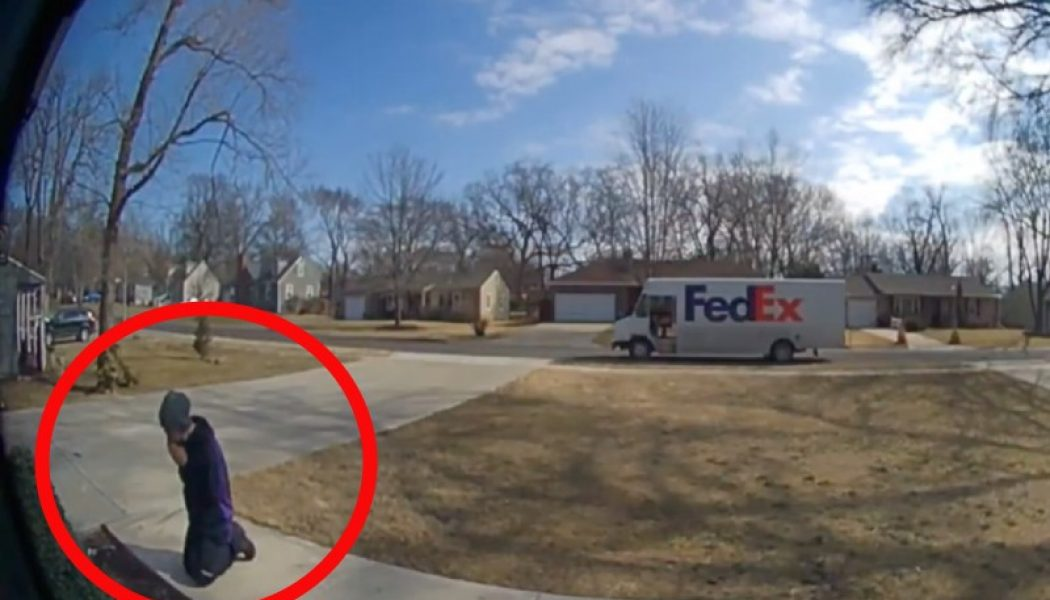 Ring doorbell camera captures FedEx driver making a delivery — then stopping to pray before a statue of Our Lady…