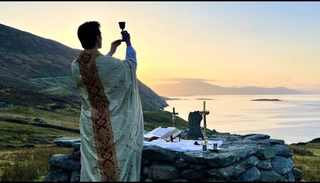 Watch: Amid shutdown of public worship, priest offers Mass on ancient Mass rock in Ireland…