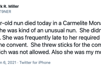 This cloistered Carmelite nun had 10 children and 28 grandchildren. Her son just told the story of her incredible life in 13 tweets…..