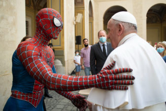 What was Spiderman doing at Pope Francis' Wednesday general audience?